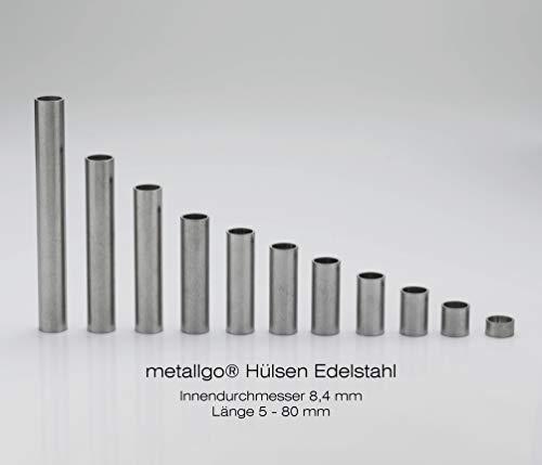 metallgo M8 Edelstahl Hülsen, Abstandshülsen, Distanzhülsen, Abstandsbuchsen, Distanzbuchsen, Abstandshalter, Distanzhalter - 10 Stück Länge 30 mm -