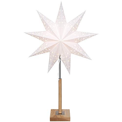 matches21 Weihnachtsstern Leuchter/Papier & Eiche Holz Standfuß weiß/braun 70x43 cm 230V Weihnachtsbeleuchtung
