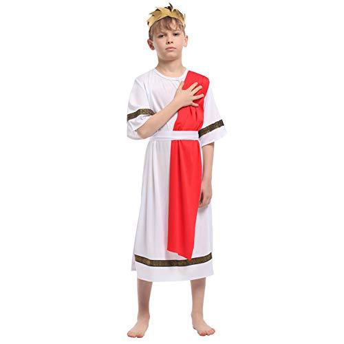 Jungen Kostüm Toga - LOLANTA Griechische Toga Kostüm für Jungen Roman Prince Pullover Tunika Halloween Caesar Cosplay Kostüm (6-7 Jahre)