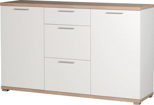 Germania 3201-178 Sideboard GW-Top in Weiß/Absetzung Sonoma-Eiche-Nachbildung, 144 x 88 x 40 cm (BxHxT)