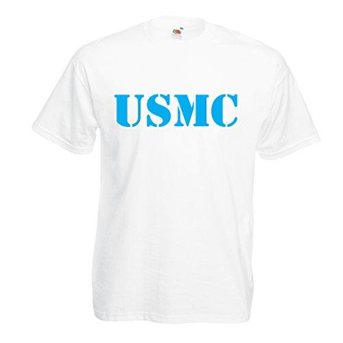 lepni.me Männer T-Shirt USMC Emblem, Marine Corps, Marines Logo, US Navy Armed Forces (X-Large Weiß Blau) -