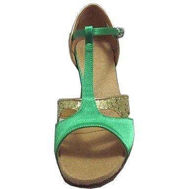 donna in pelle scamosciata con tacco alto sandali da danza latina Salsa Green