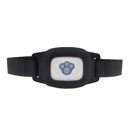 WAZA GPS Tracker Hunde/Katze Halsband, Mini Tracker mit App 2G IP67 Wasserdicht Alarm SIM Karte Unterstützt (Schwarz)