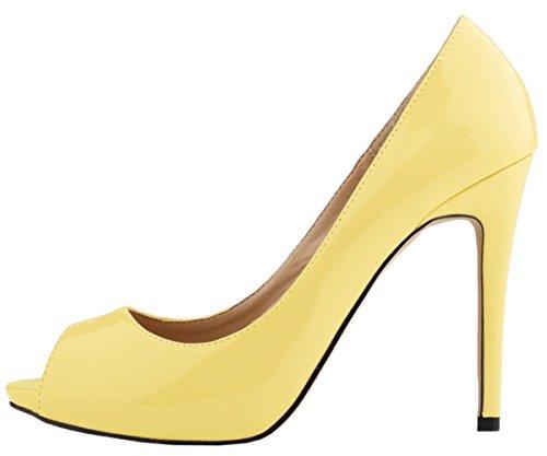 HooH Femmes Escarpins Plateforme Talon haut Robe Escarpins Mariage Chaussures a enfiler Jaune-1