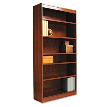 Square Corner Bookcase, Wood Veneer, 6-Shelf, 35-3/8w x 11-3/4d x 72h, Mahogany