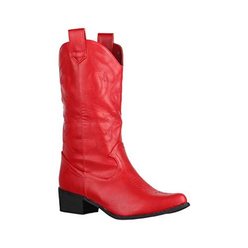 Elara Damen Stiefel | Cowboystiefel mit Blockabsatz | Lederoptik | Chunkyrayan 888 Red-38