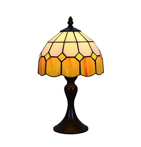 Vintage Tiffany Tischlampen Gelbe 8 Zoll, Tiffany Tischlampe Antik Original, Glasmalerei Lampen Mediterrane Schlafzimmer Nacht Lampenschirme Wohnzimmer von FBOSS -