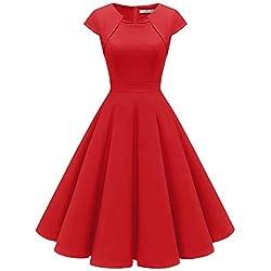 HomRain Robe Femme Vintage de Soirée Cocktail Cérémonie années 1950s Style Audrey Hepburn Red M