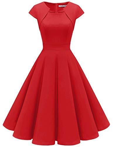 HomRain Damen 50er Vintage Retro Kleid Party Kurzarm Rockabilly Cocktail Abendkleider Red M (Kleider Damen Vintage Rote)