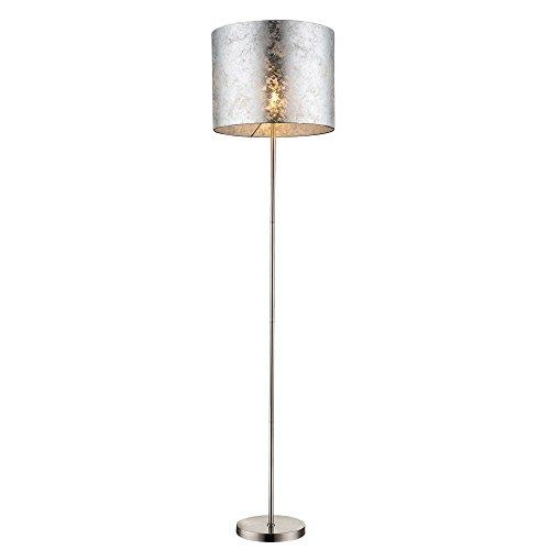 Design Steh Leuchte Stoff Decken Fluter Lese Stand Lampe silber glänzend Globo 15188S