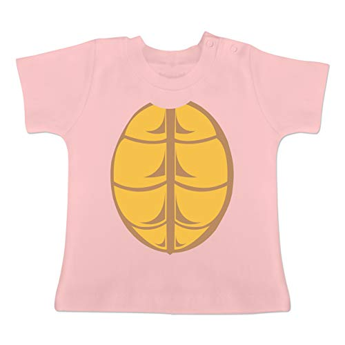 Karneval und Fasching Baby - Kostüm Schildkröte - 1-3 Monate - Babyrosa - BZ02 - Baby T-Shirt Kurzarm (Kostüm Ideen Gruppe 3)