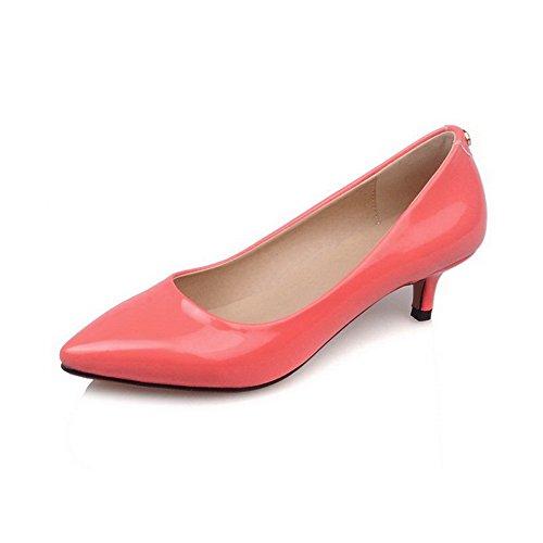 AgooLar Damen Ziehen Auf Pu Leder Mittler Absatz Eingelegt Pumps Schuhe Wassermelone Farbe