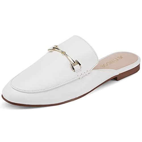 JENN ARDOR Frauen Chic Mule Loafer Damen Beleg Auf Flache Schuhe Bequeme Slipper Casual Frauen Schuhe - Damen Weiß Loafers Schuhe