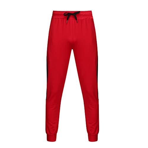 CAOQAO Pantaloncini da Uomo Jeans/Moda Uomo Autunno e Inverno Casual Tinta Unita Cintura a Strisce Cucitura Cintura Cintura di Pizzo Stretch Pantaloni Fitness/Rosso/M-XXL