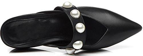 4cm Negros Bloque Con Deslizamiento En Zapatos Mulas Calaier Y Caín Se Obstruye Mujer qqt76w4