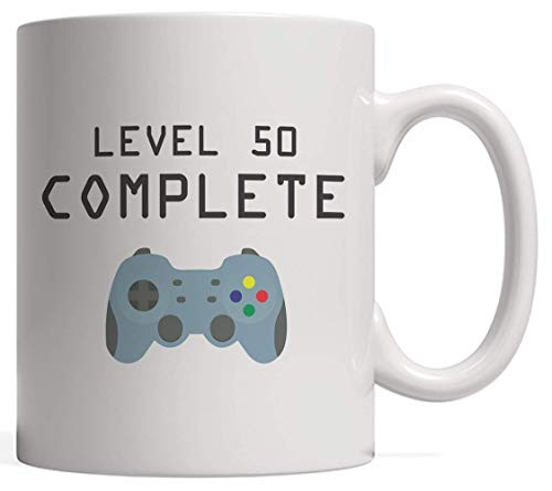 Level 50 Complete Mug - Cool Geek Gaming Gift for Fifty Years Old Video Games Lovers to Celebrate Their Happy 50th Birthday As an Achievement Unlocked! with Gamer Controller