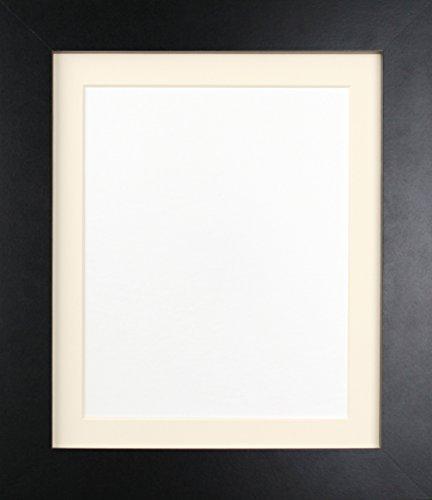 Frames By Post London schwarz Bild Foto Poster Rahmen (39mm breit x 15mm tief) mit elfenbeinfarbenem Passepartout 76,2x 61cm für Bildgröße A2(Kunststoff Glas), schwarz mit elfenbeinfarbenem Passepartout