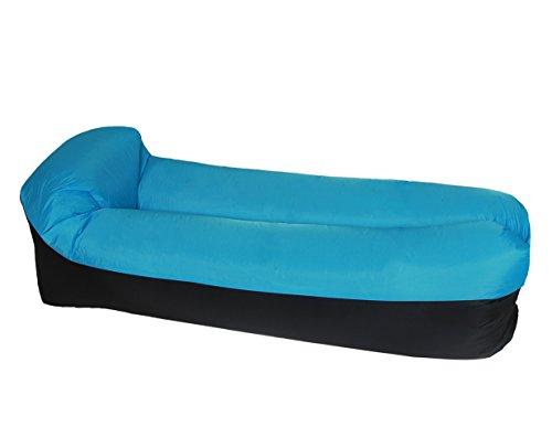 ETiME Wasserdichtes Aufblasbares Sofa mit integriertem Kissen Blau-Schwarz Portable Liege Tragbarer...