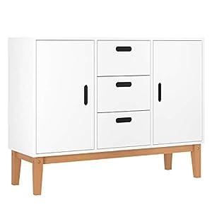 HOMECHO Sideboard weiß Küchenschrank Buffetschrank mit 2 Türen und 3 Schubkasten Anrichte Beistellschrank Kommode Schrank 100x33x75,5 cm(B x H x T)