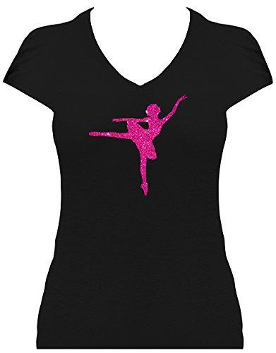 Fun Shirt Premium Damen Glitzeraufdruck Ballerina Dancing Shirt Ballettänzerin, T-Shirt, Grösse M, Druck pink Glitzer (Tänzerin T-shirt Damen-pink)