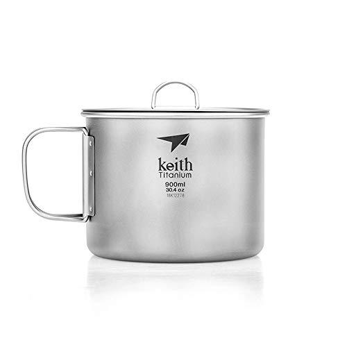 Keith Titan Becher Outdoor Mug Camping Tasse Mit Deckel Picknick Geschirr(900ml.Ti3209)
