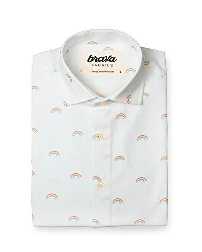 Brava Fabrics - Weißes bedrucktes Hemd für Männer Kurzarm-Freizeithemd für Männer - 100% Baumwolle Bio - Modell Magic Rainbow - Größe M - -