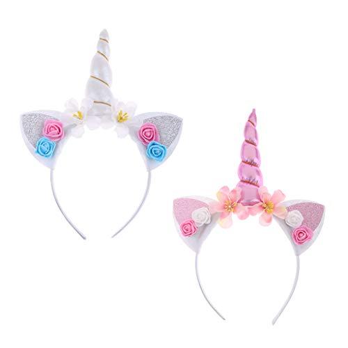 Einhorn Kostüm Kopfbedeckung - F Fityle Süß Einhorn Katzenohren Haarreif Kopfschmuck Kostüm Haarschmuck Kopfbedeckung Haarband Stirnband, 2er Set