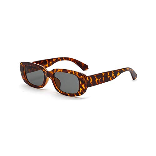 Vikimen Sports Eyewear, Men Rectangle Sunglasses Leopard Women NEW Summer Ladies Sun Glasses Retro Square Black Pink Uv400 Dropshipping as show in photo leopard with green