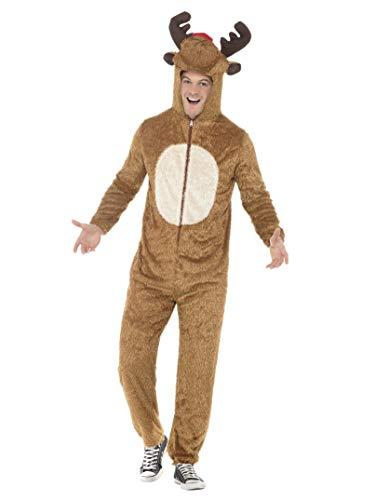 Smiffys, Herren Rentier Kostüm, Jumpsuit mit Kapuze, Größe: M, (Frozen Herren Kostüm)
