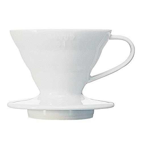 Hario VDC-01W V60 Kaffeefilterhalter, Porzellan, 1/1-2 Tassen, weiß - 1 Tasse Kaffee-filter