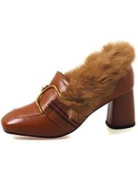 Otoño Nuevo Cuero Retro Cabeza Cuadrada Zapatos de tacón Alto Mujeres Ins Zapatos pequeños Marea Salvaje