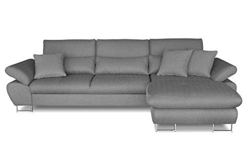 Windsor & Co Droit Convertible Canapé d'Angle, Tissu, Gris Clair, 285 x 175 x 95 cm