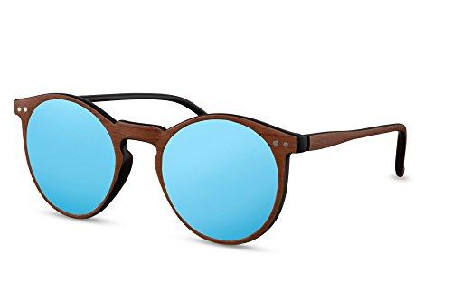 nbrille Holz Braun Blau Verspiegelt-e Brille UV-400 Plastik Damen Herren (60er Jahre Biker)