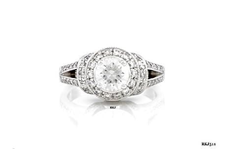 Solitaire Vintage Art Deco 1.44carats Diamant rond brillant 14K Or Blanc Solide pour mariage/fiançailles/anniversaire Love Bague, tous les Taille H à Z