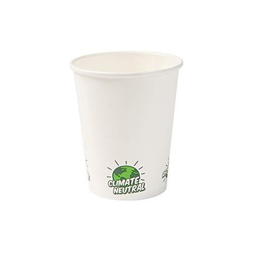 BIOZOYG Recycelbare Pappbecher Kaffee weiß mit EcoUp© Icon und PLA Beschichtung I 50 Coffee to go Einwegbecher biologisch abbaubar 200 ml 8 oz I Kaffeebecher Trinkbecher Einmalbecher (Recyclebare Trinkbecher)