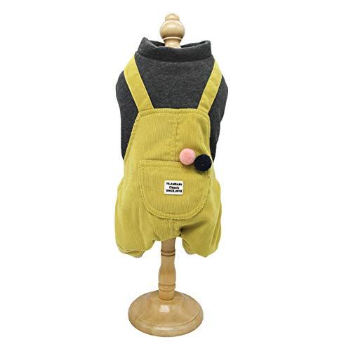 OOFAN Dog Coat Hundemäntel Winter, Cord Trägerhose Warmer Mantel Haustiermantel Weiche Hundekleidung Bekleidung für kleine, mittelgroße Hunde,Gelb,L (Cord-gefütterte Mantel)