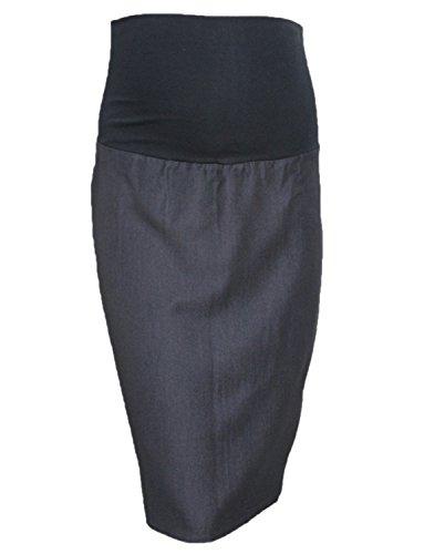 Bleistift-Rock für Schwangere, Umstandsmode, geeignet für Büro, intelligentes Design, geht über den Bauch, Größe 38 - 48 Gr. 16, Schwarz