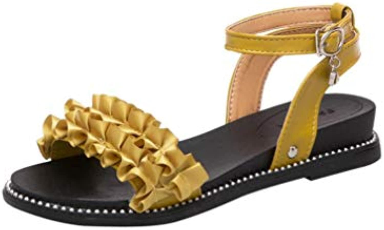 440b6df3adfe Riou Women Women Women Fashion Solid Flower Hasp Round Toe Slope Heel  Sandals Beach Shoes B07GFM5JB4 Parent 16bde0