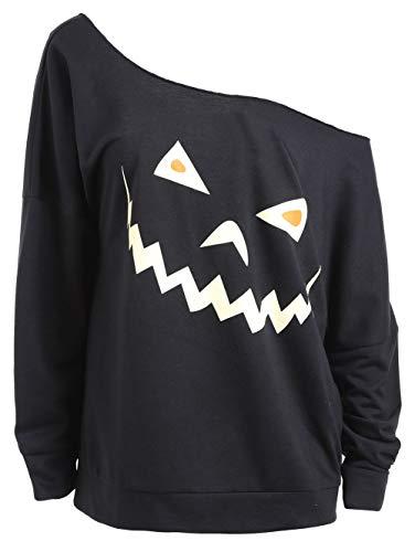 Frauen Halloween Leggings Halloween-Kürbis-Halloween-Kürbis-Druck Schräge Schultergurt-Frauen Sweatshirt, Schwarz, ()