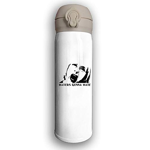 GDESFR Thermoskanne Stainless Water Bottle Custom Haters Gonna Hate,Sports Drinking Bottle,Leak-Proof Vaccum Cup,Travel Mug,with Bounce Cover,White -