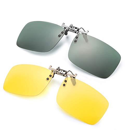 ELIVWR 2-Stück, Herren Rectangle Sonnenbrillen-Clip Polarisierte für Brillenträger/Nachtsichtbrille Autofahren für Brillenträger 100% Schutz vor Schädlichen UVA/UVB Strahlen (Grün+Gelb, 59 * 41)