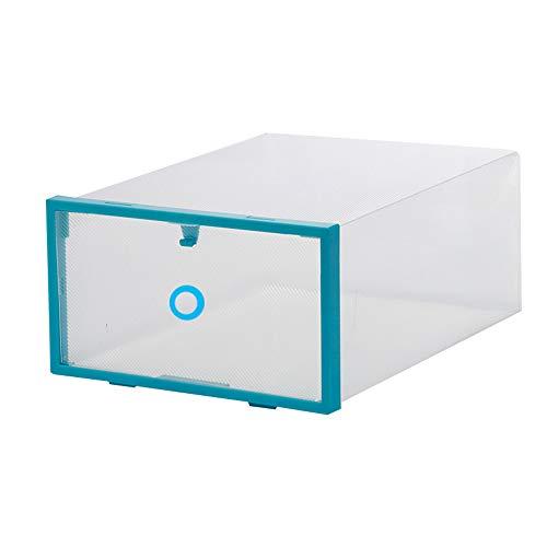 5 Stück Clear-Plastik-Schuhboxen, faltbarer Stackierschuhbehälter, Schrank-Schuhorganisator, Clear mit Multicolor-Rahmen