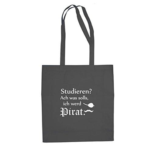 Ich werd Pirat - Stofftasche / Beutel, Farbe: grau (Piraten Kostüme Ideen)