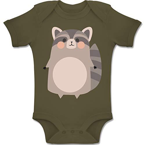Waschbär Kinder Süßer Kostüm - Shirtracer Karneval und Fasching Baby - Kostüm Fasching Waschbär - 1-3 Monate - Olivgrün - BZ10 - Baby Body Kurzarm Jungen Mädchen