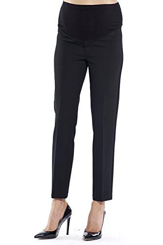 elegante Umstandshose Damen, Bundfalten Business Hose für die Schwangerschaft, Business/Casual/Abendmode - mit praktischem Gummizug (Large, Schwarz)