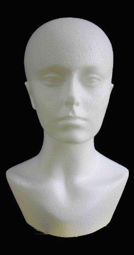 Présentoir tête de femme en polystyrène pour chapeaux et perruques
