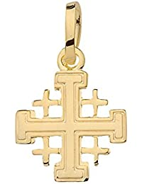 Gold 14 k ( 585 ) Kreuz Anhänger - Jerusalem - B. 10 mm - H. 10 mm