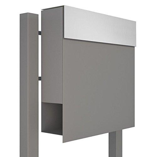 Standbriefkasten mit Zeitungsfach, Design Briefkasten Manhattan Stand Grau Metallic/Edelstahl - Bravios