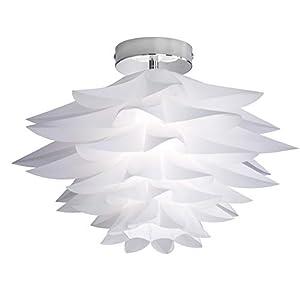 Reality Leuchten Deckenleuchte in chrom, Schirm aus weißem PVC, 1xE27 max. 60W, ohne Leuchtmittel, Durchmesser 50 cm, Höhe: 35 cm R65221001