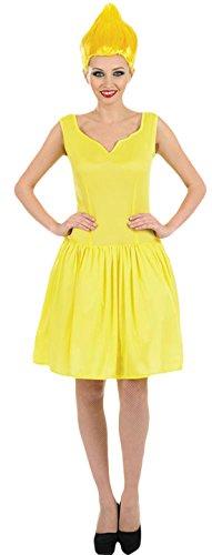 Karnevalsbud - Damen Mini Kleid Pixie mit Perücke Karneval Kostüm, Gelb, Größe (Böse Pixie Kostüme)